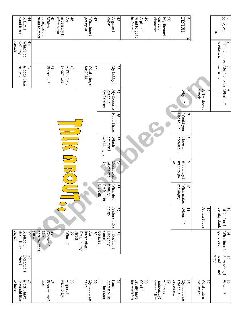 Starter Board Game worksheet