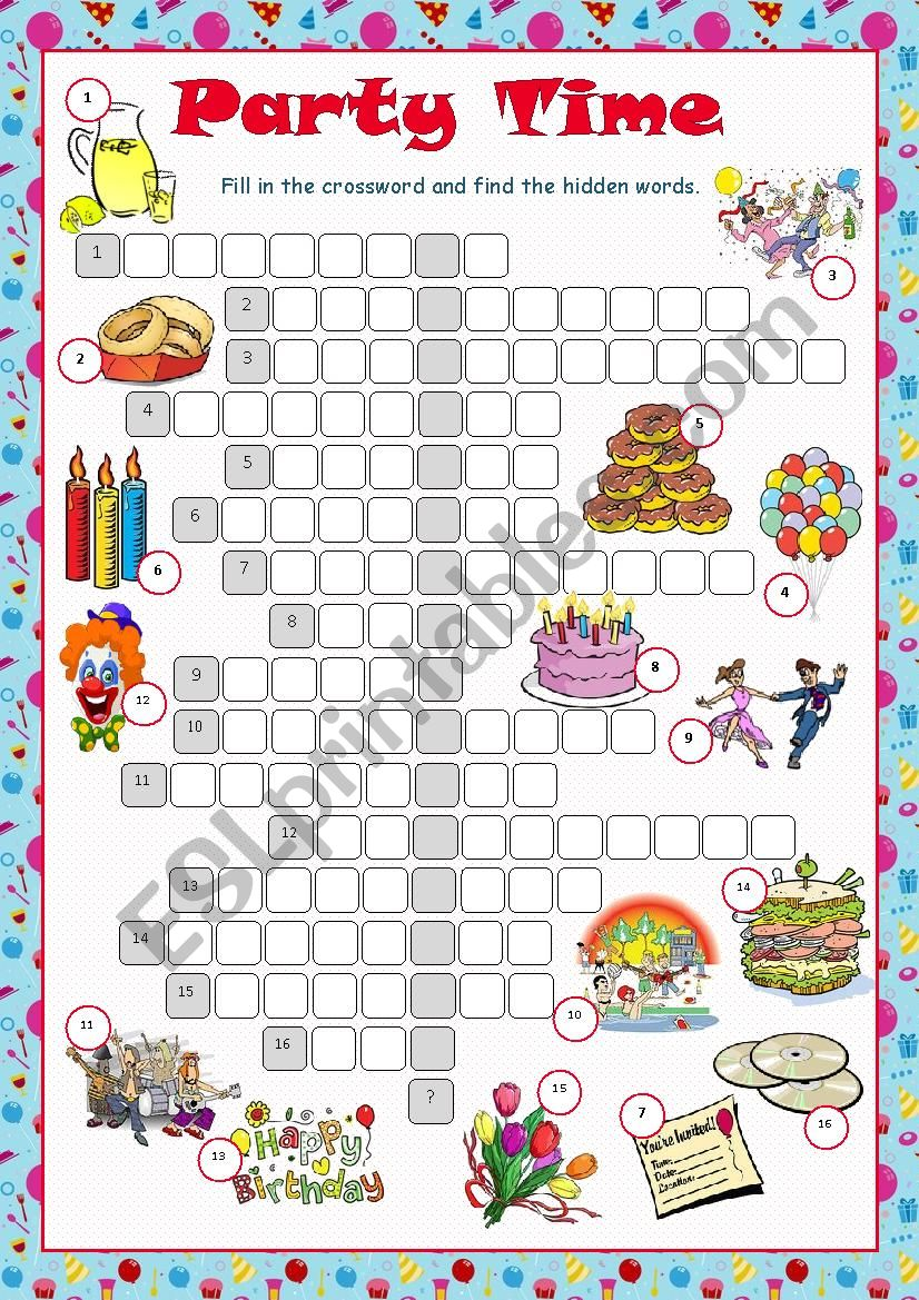 Party Time Crossword Puzzle worksheet