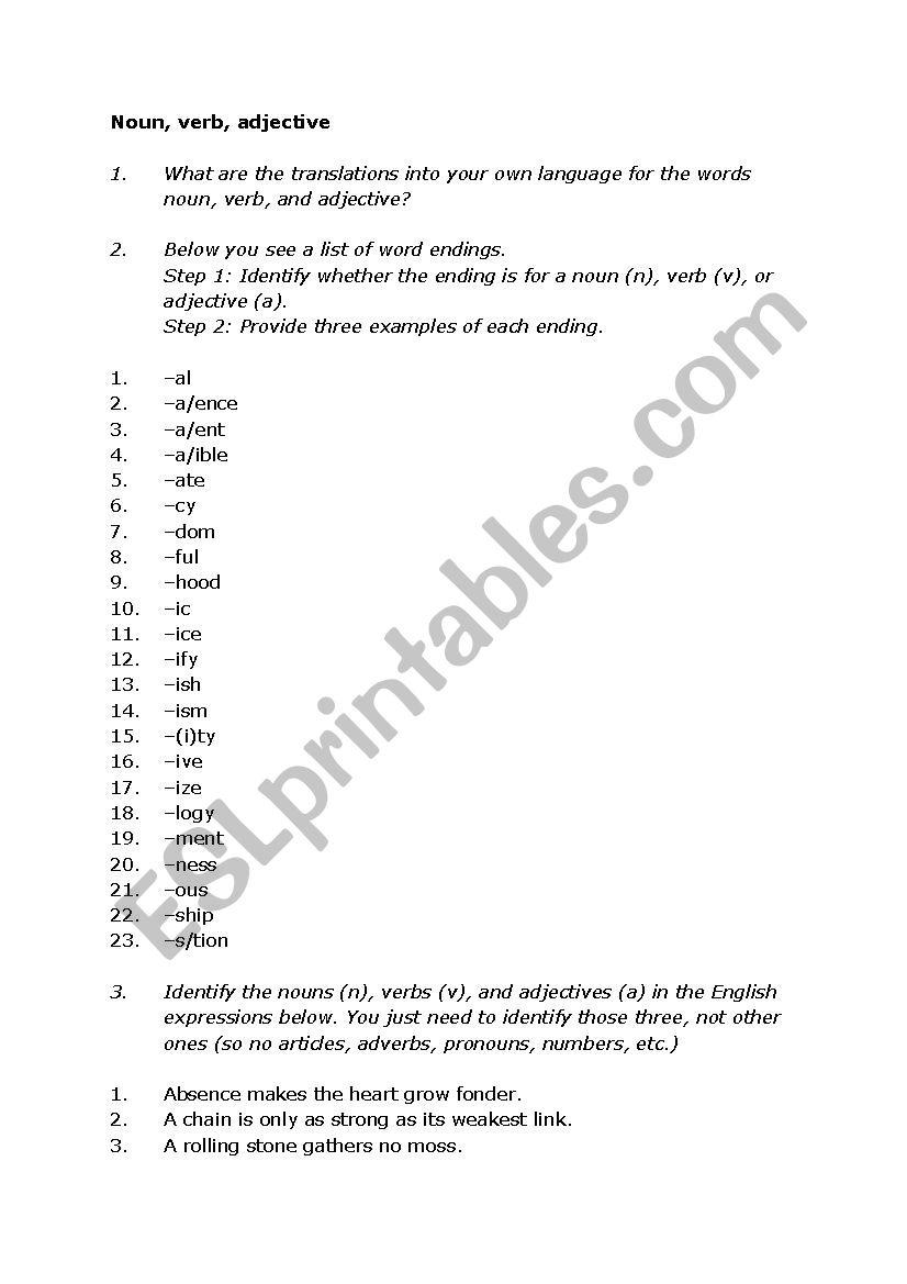 Noun-verb-adjective - ESL worksheet by Jantrao