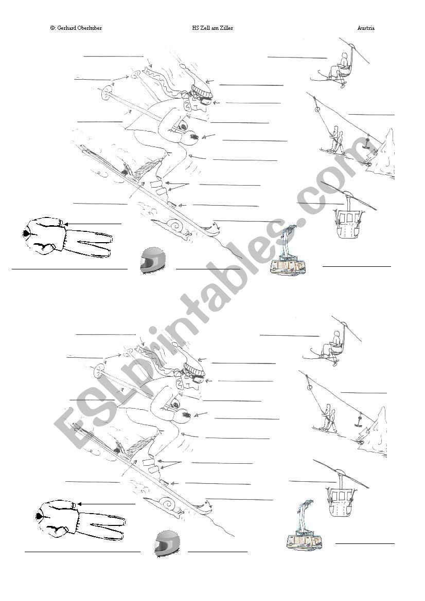 Skiing equipment worksheet