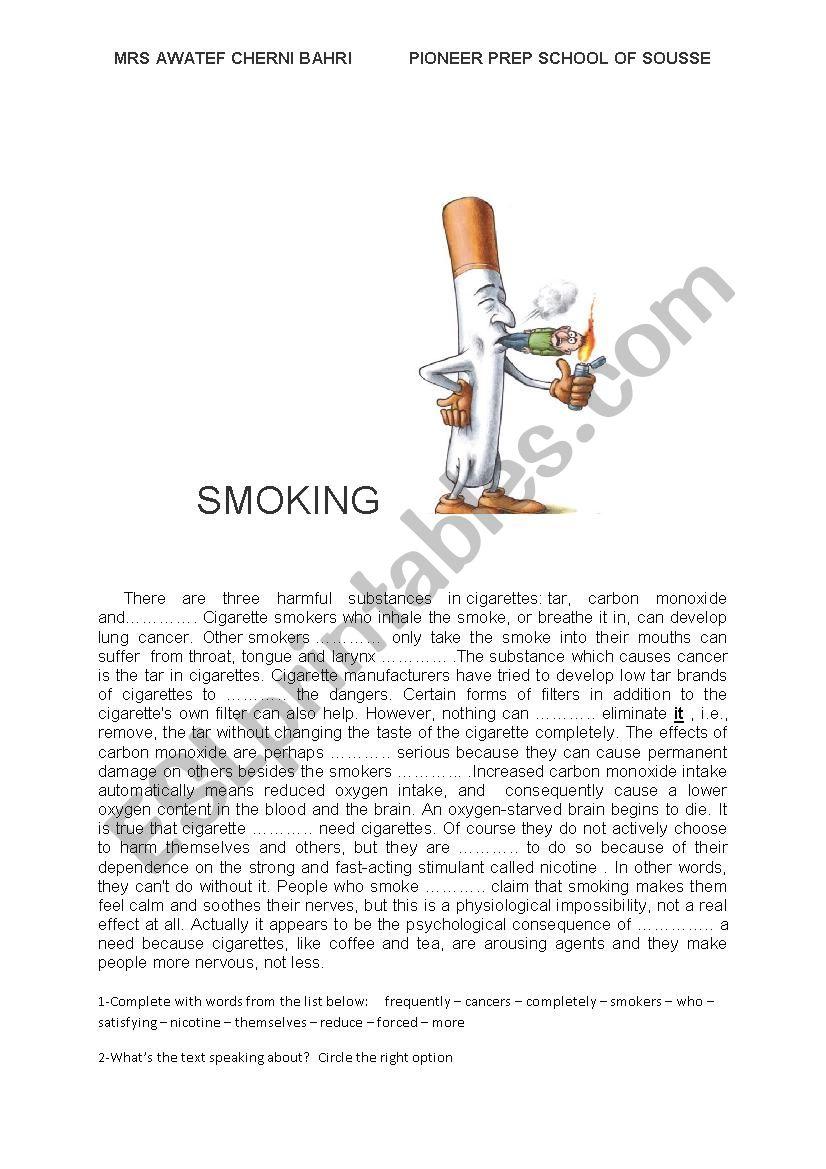 smoking; ansewr key is provided