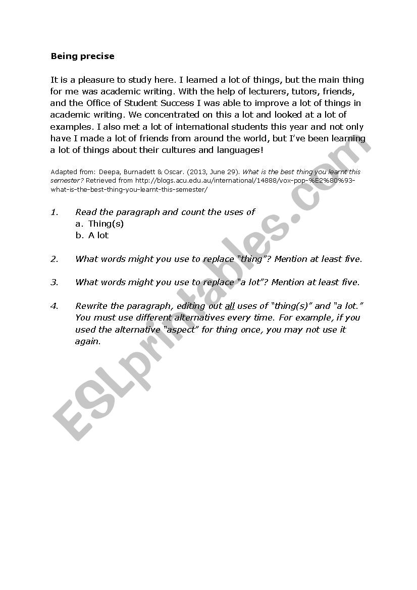 Being precise - ESL worksheet by Jantrao