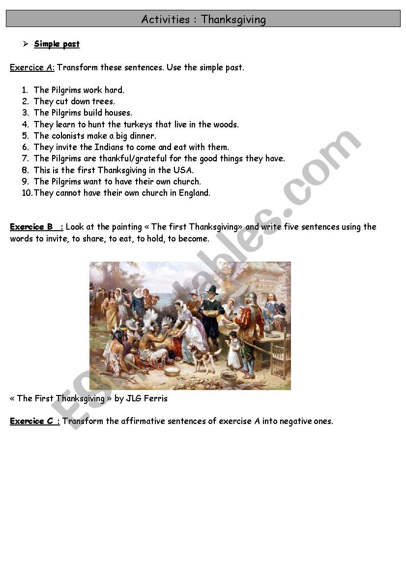 Thanksgiving: revise past simple