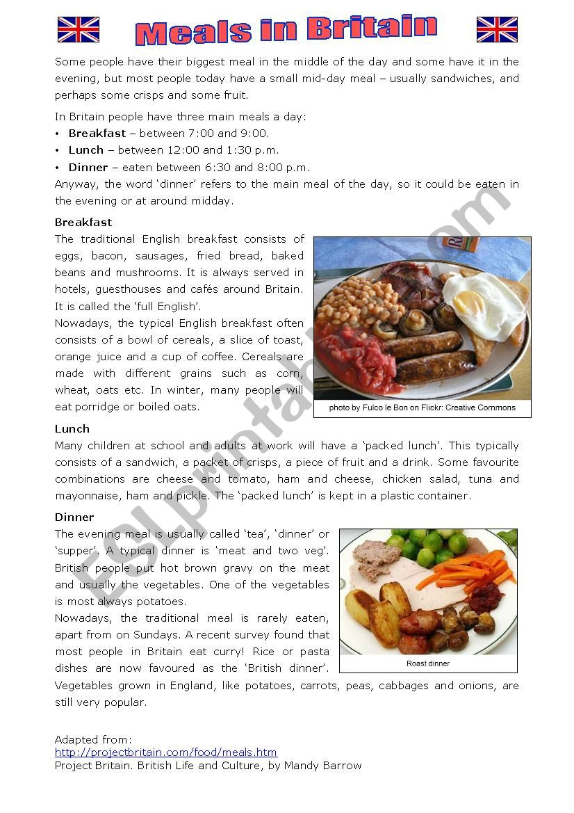 Meals in Britain worksheet