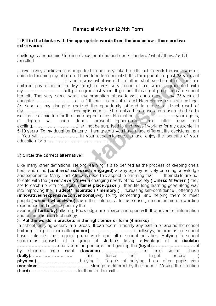 unit2/Bac Revision worksheet
