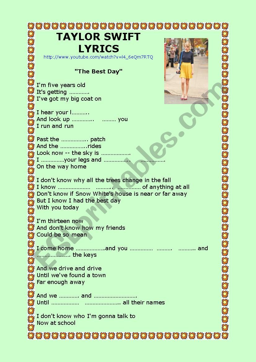 The Best Day Taylor Swift Esl Worksheet By Angeles Bosch