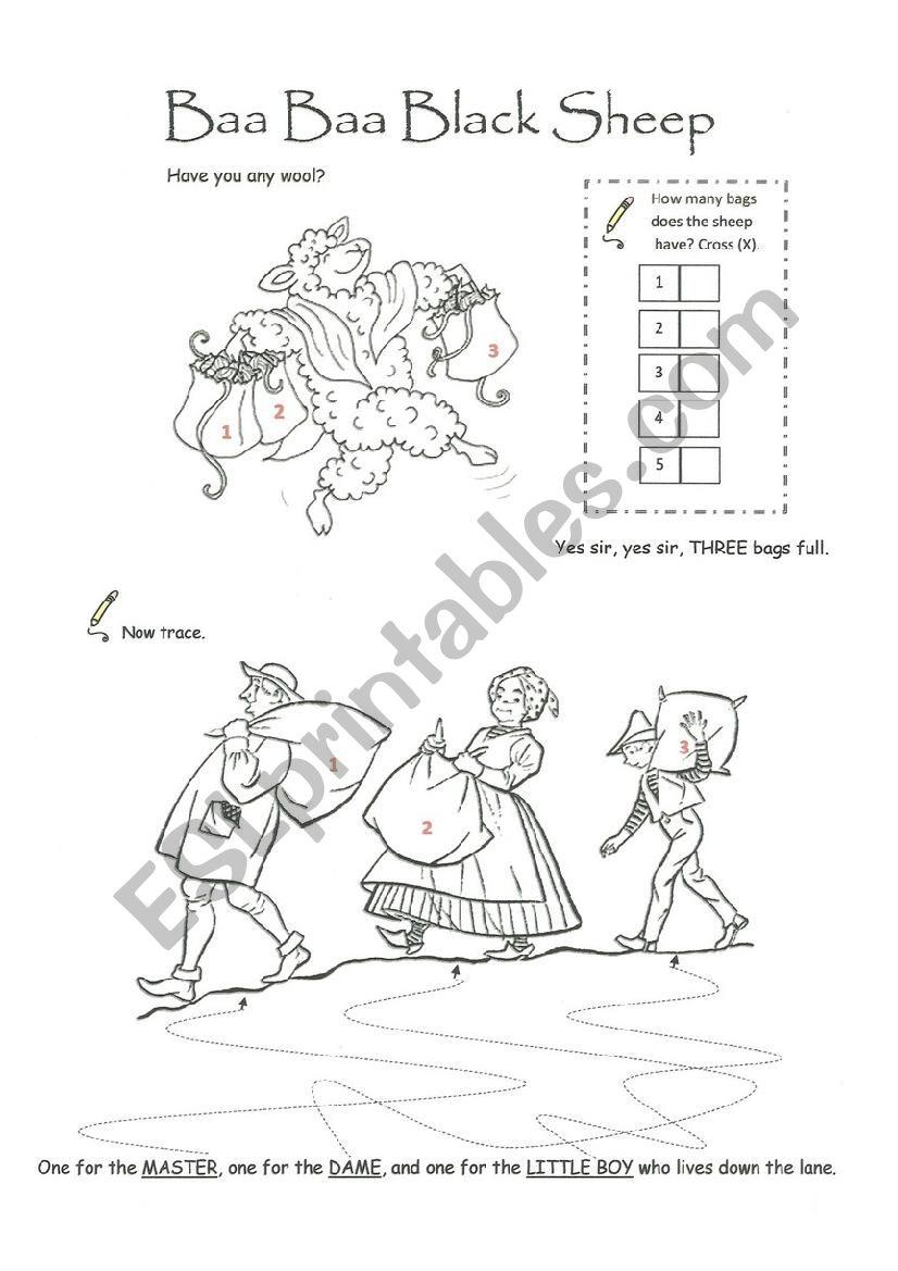 Baa Baa Black Sheep worksheet