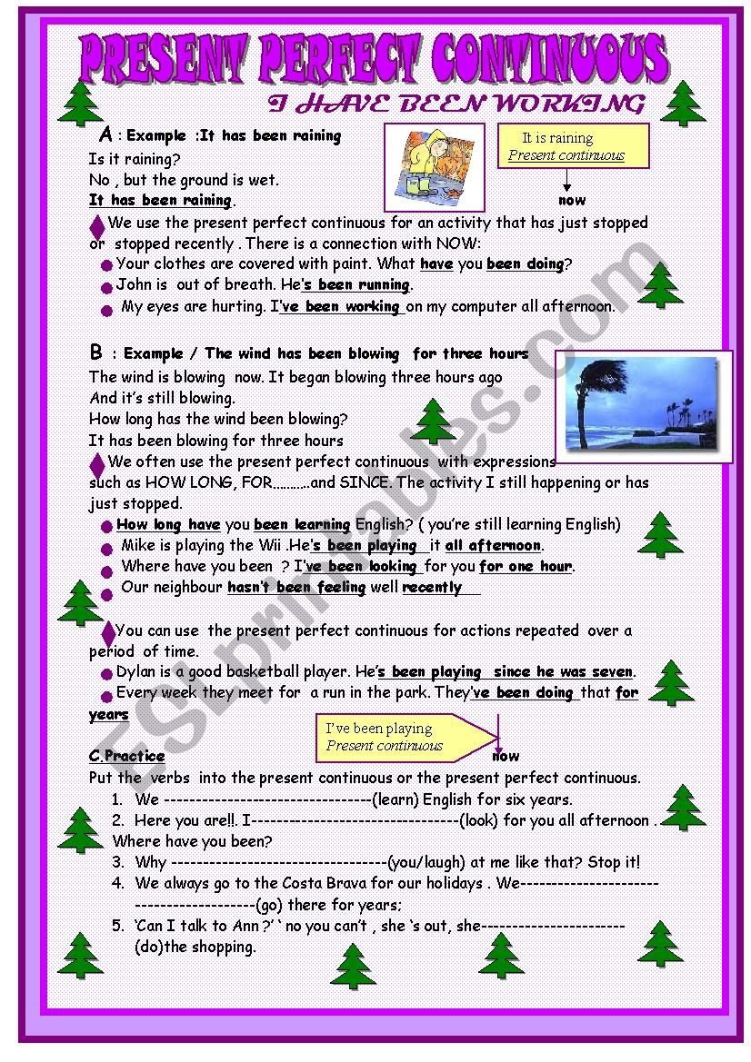 present perfect continuous :lesson