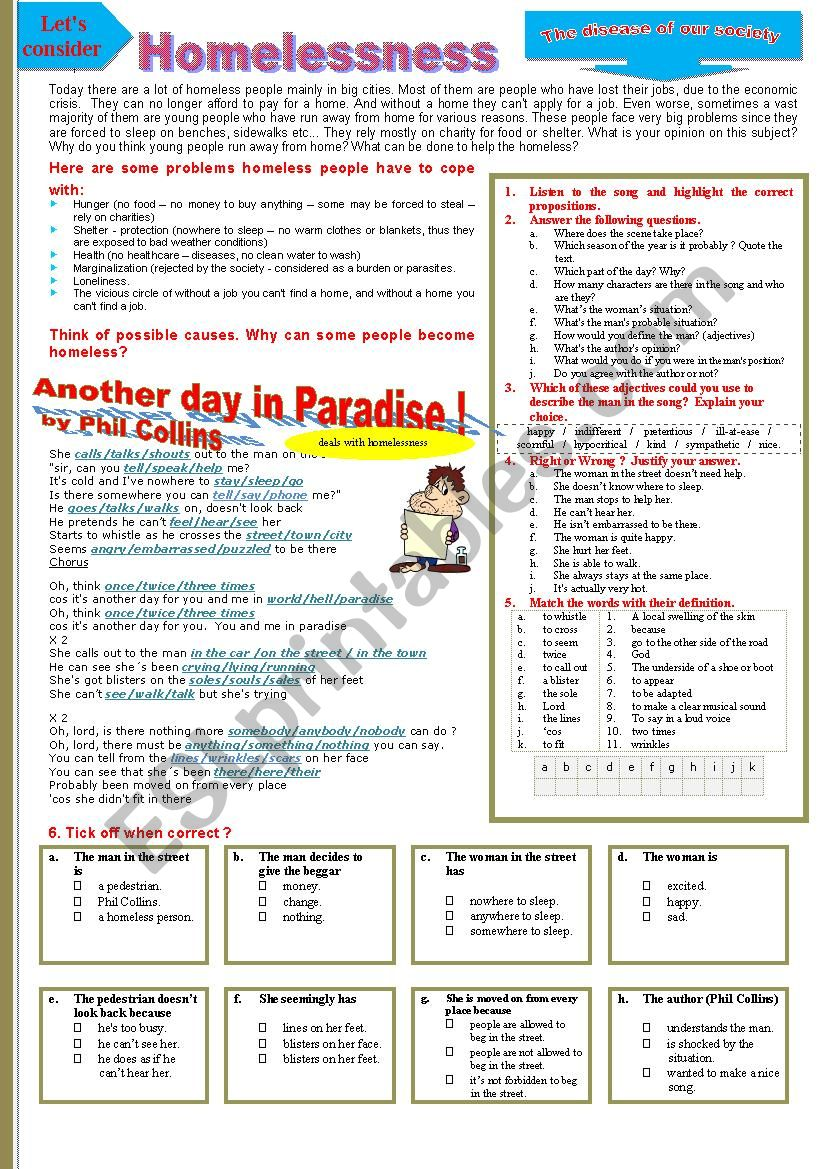 Phil collins, HOMELESSNESS - Another day in paradise by Phil Collins. Multi-activity worksheet.
