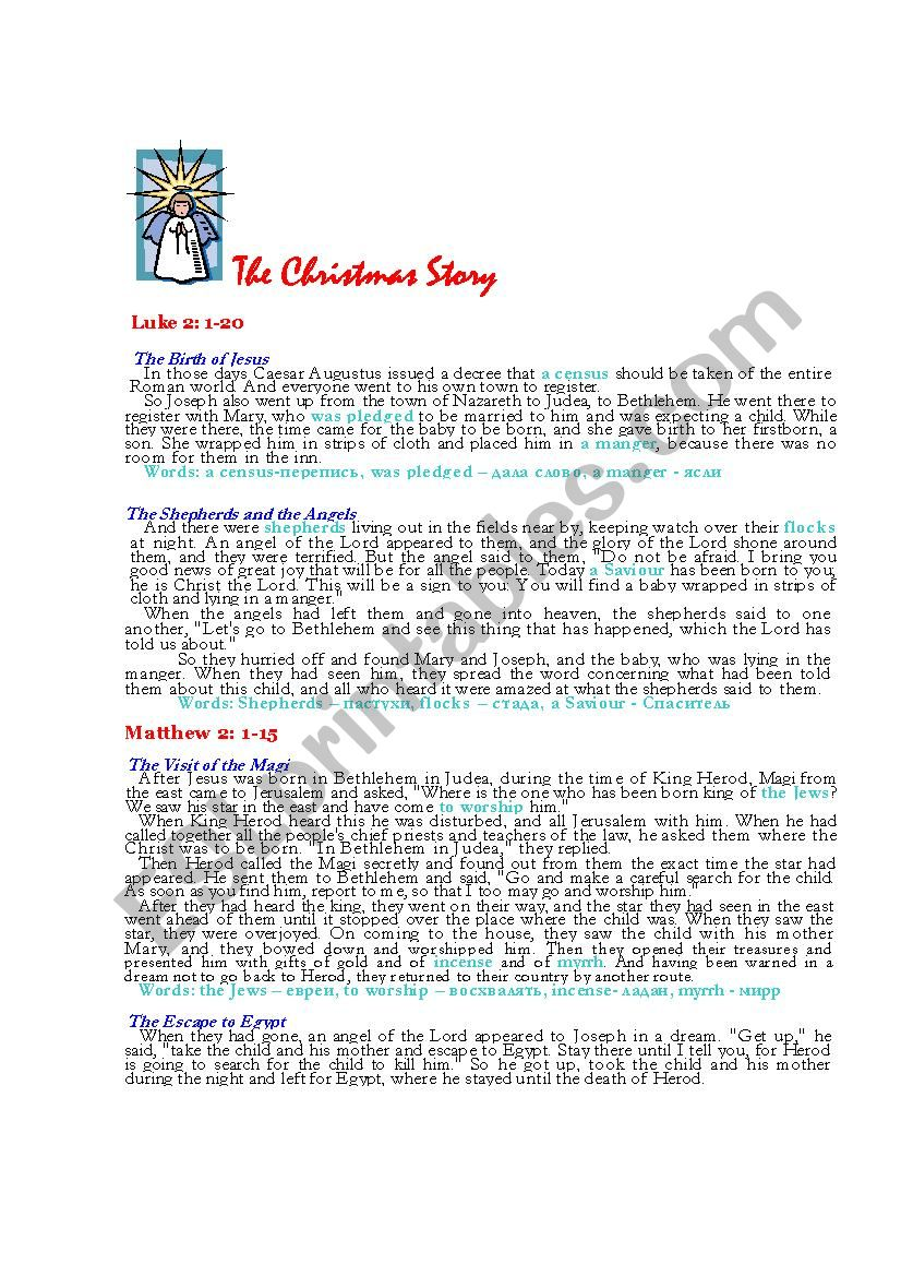 The Christmas Story Bible.The Bible Christmas Story Reading Test Esl Worksheet By