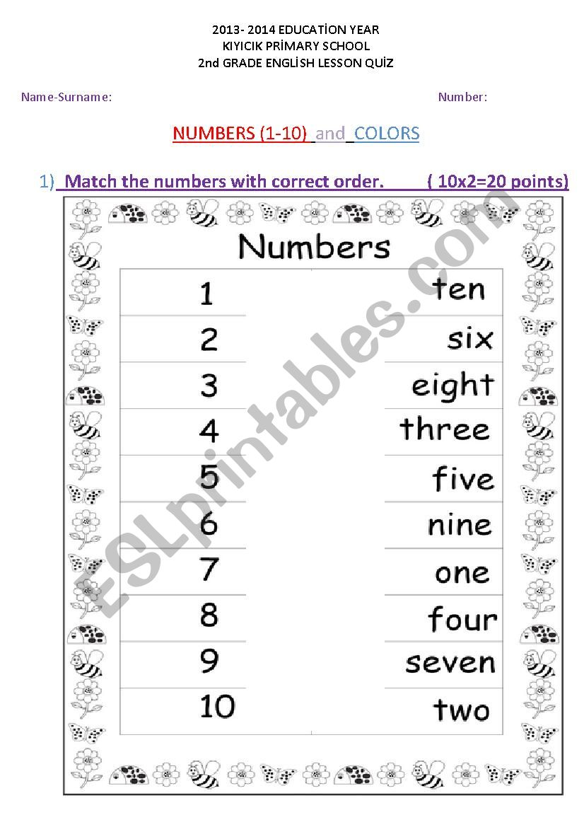 - Numbers 1-10 And Colors Quiz Worksheet - ESL Worksheet By Rodistar