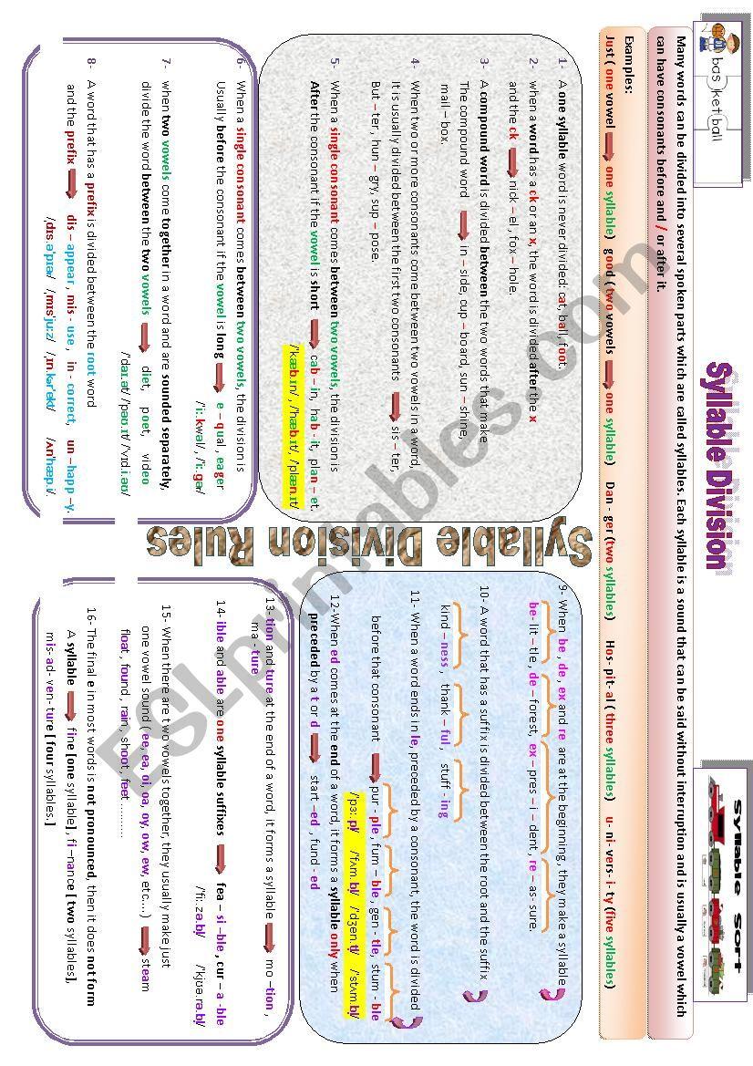Syllable Division worksheet