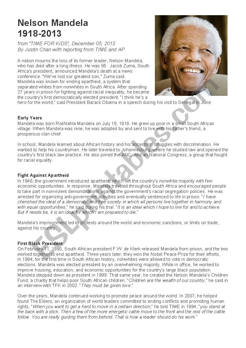 Nelson Mandela : a biography worksheet
