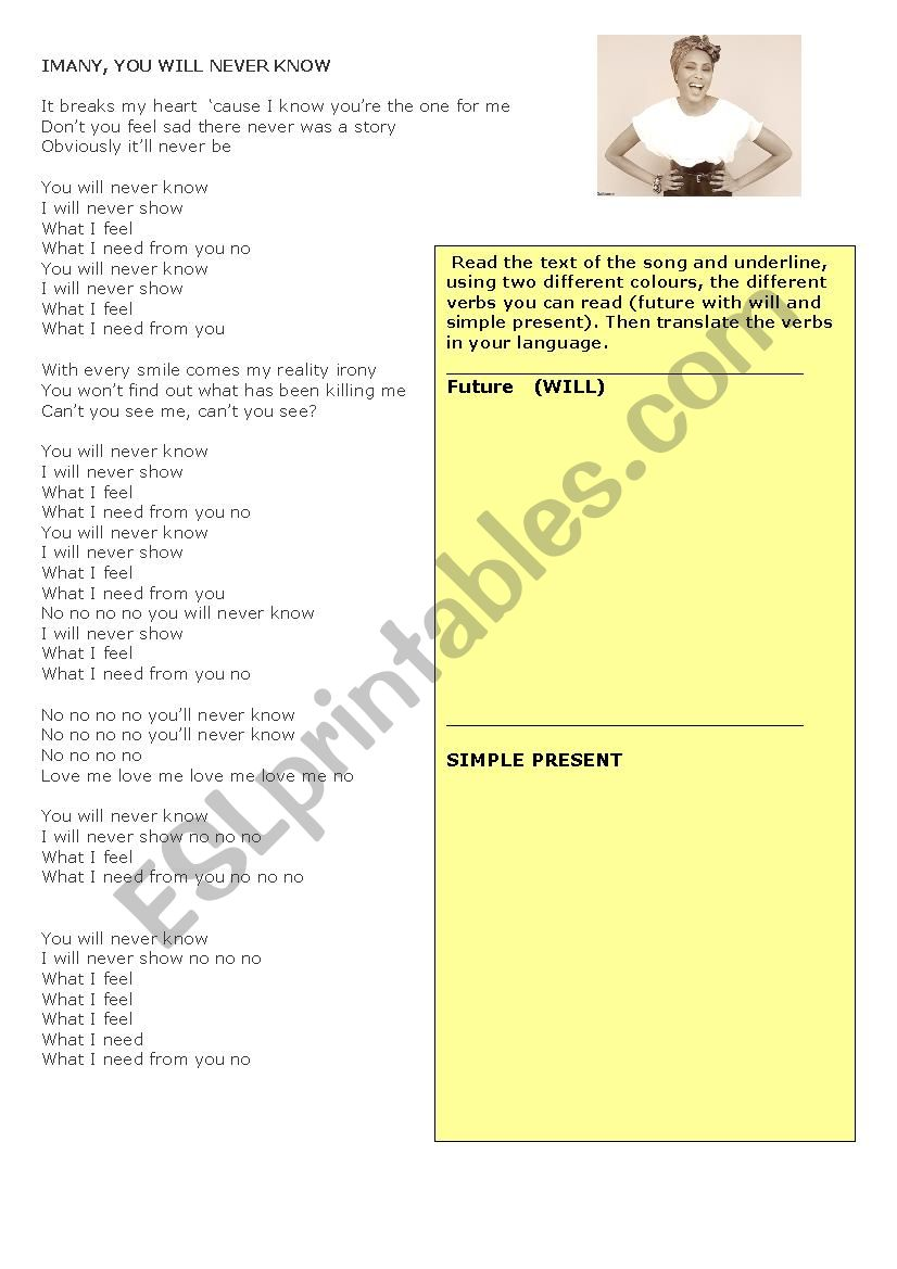 YOU WILL NEVER KNOW - IMANY worksheet