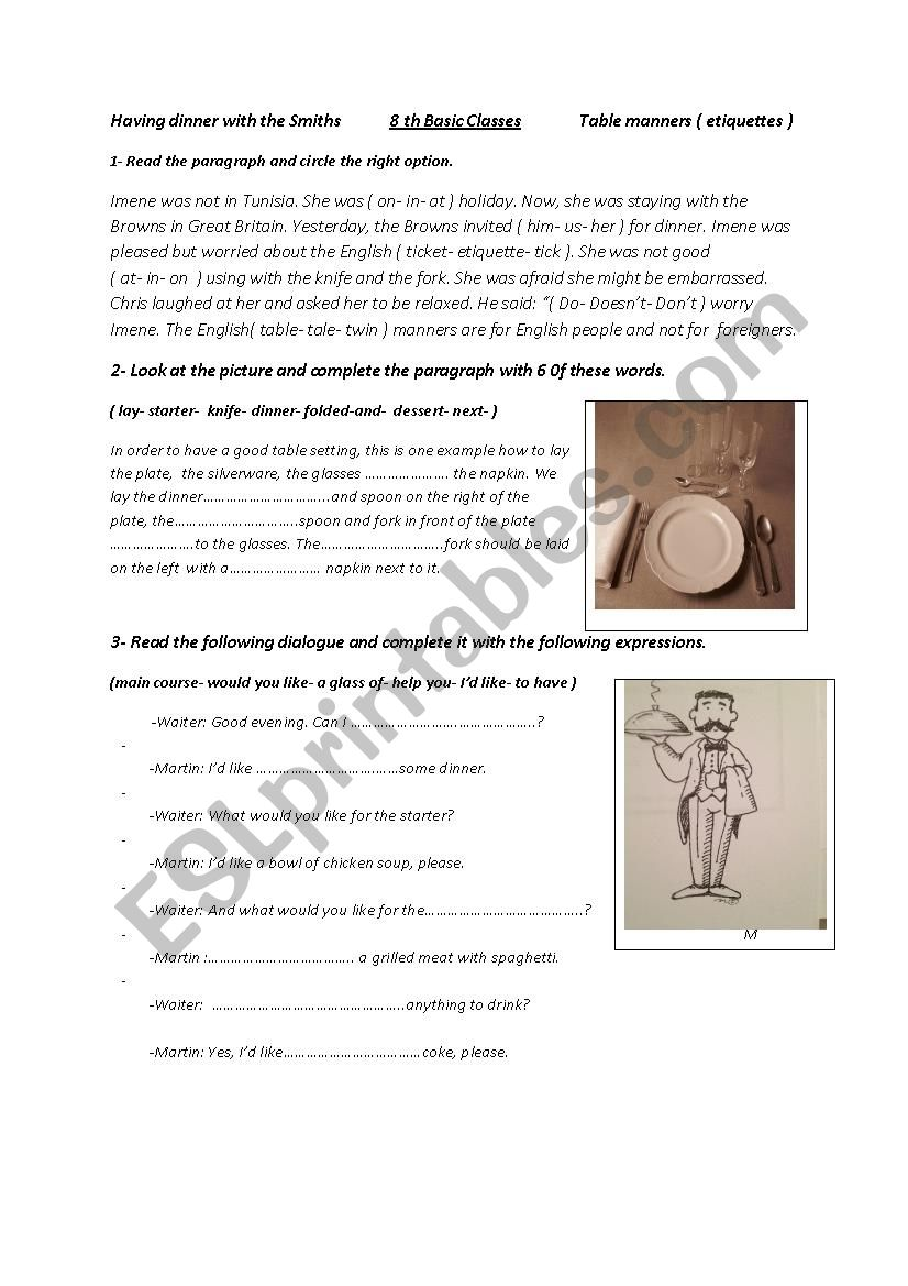 Table manners ( etiquettes ) worksheet