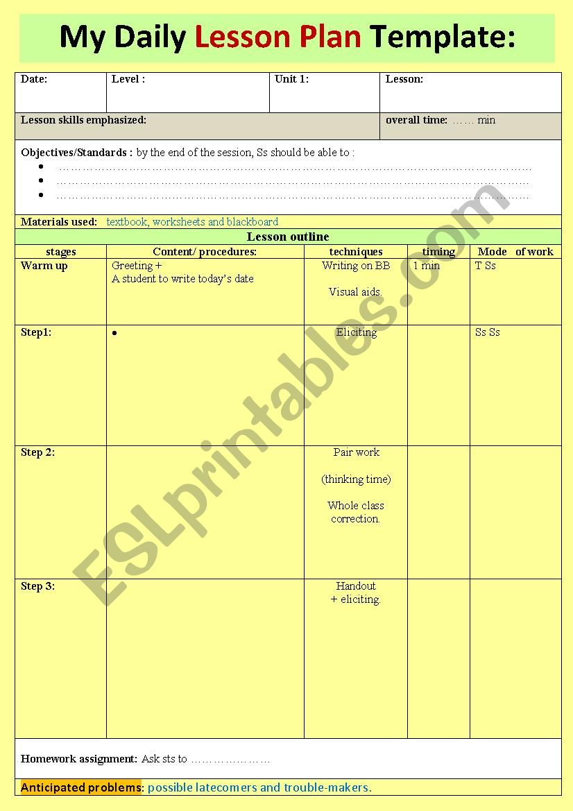 A nice daily lesson plan template for novice teachers