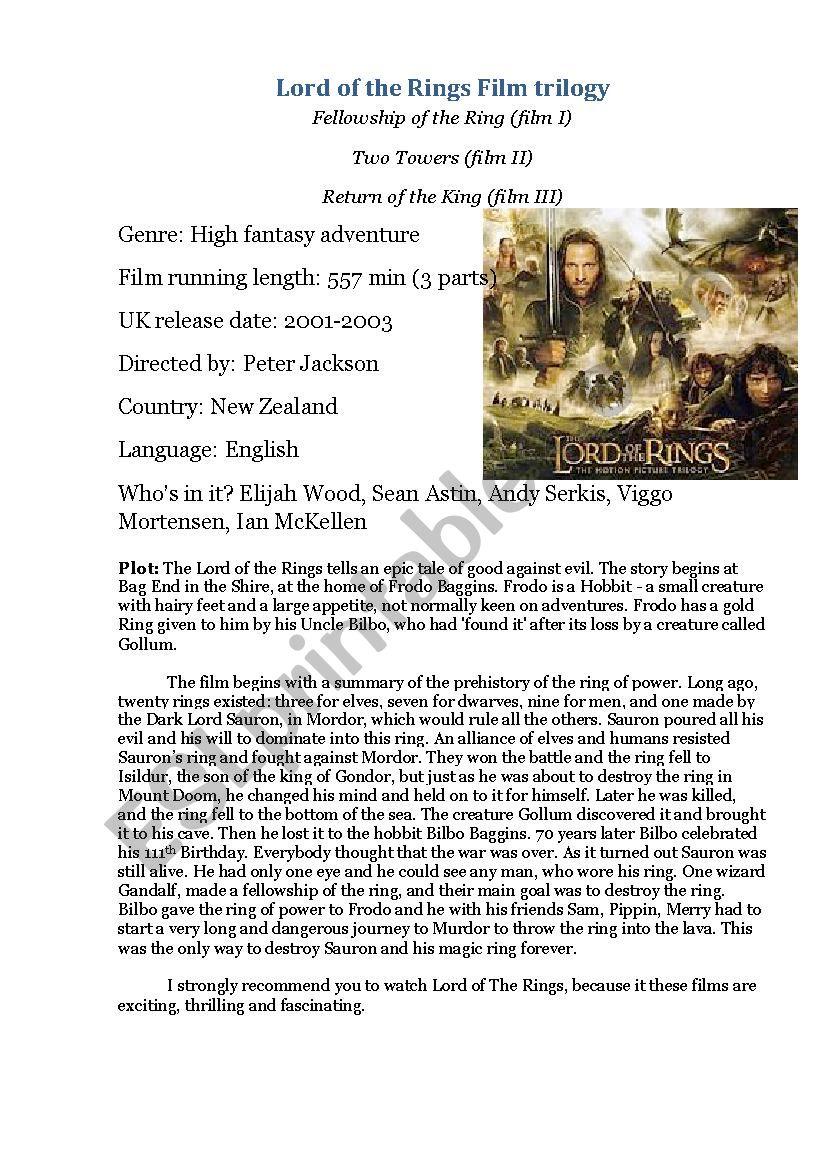 The Lord of the Rings worksheet