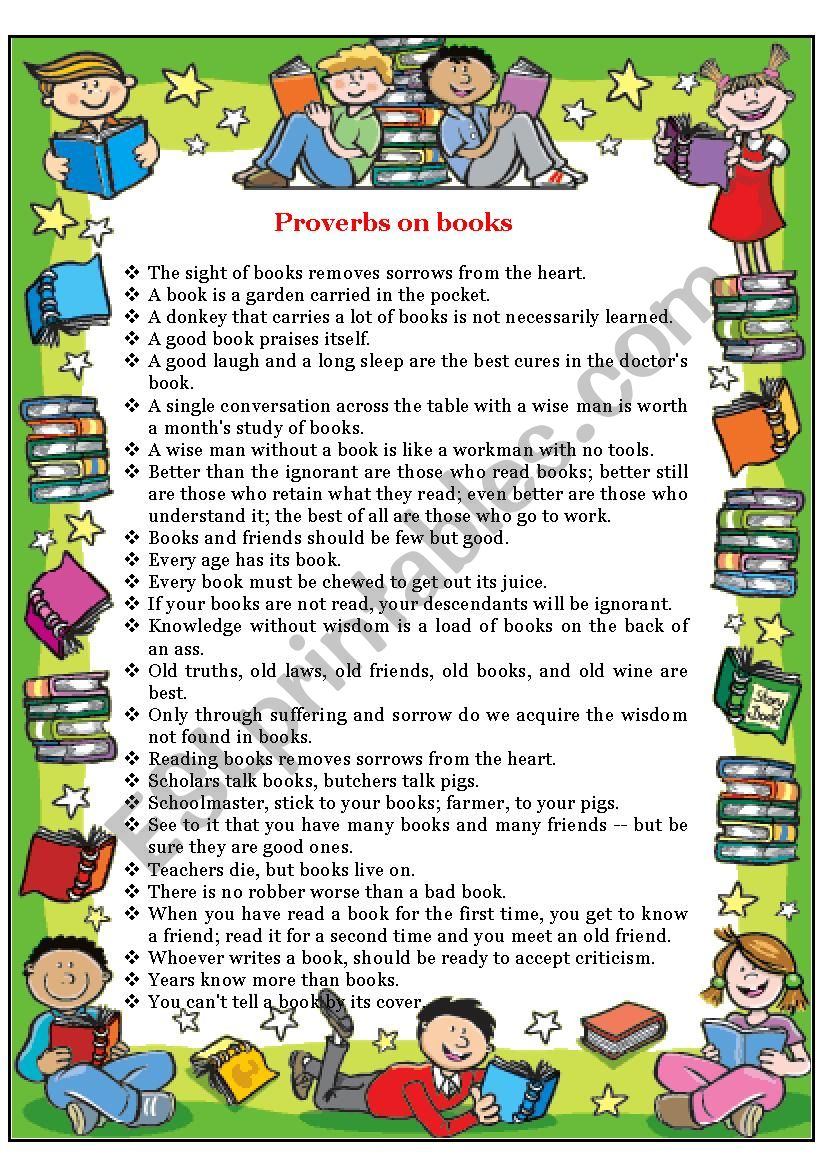 Proverbs on Books worksheet