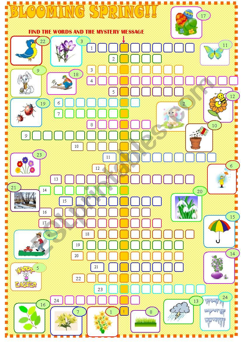 graphic relating to Spring Crossword Puzzle Printable named Spring : crossword puzzle - ESL worksheet by means of spied-d-aignel