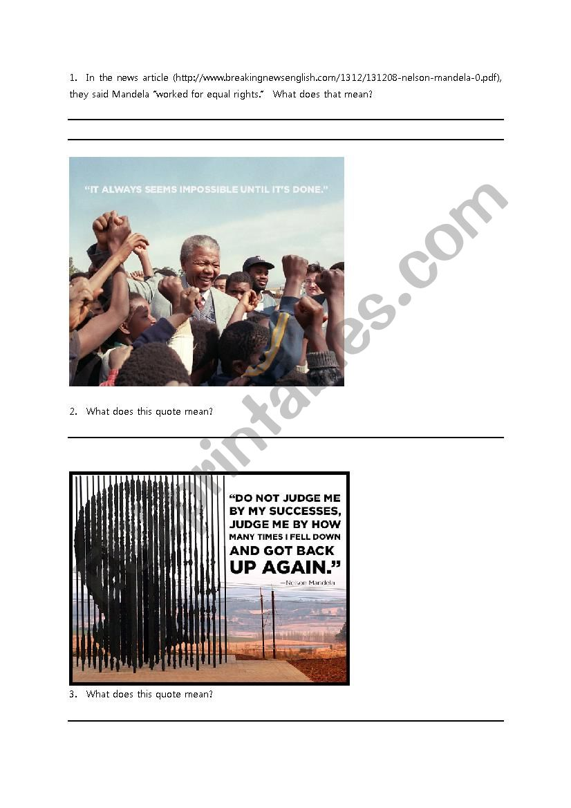 Nelson Mandela Quotes Worksheet Esl Worksheet By Awise923
