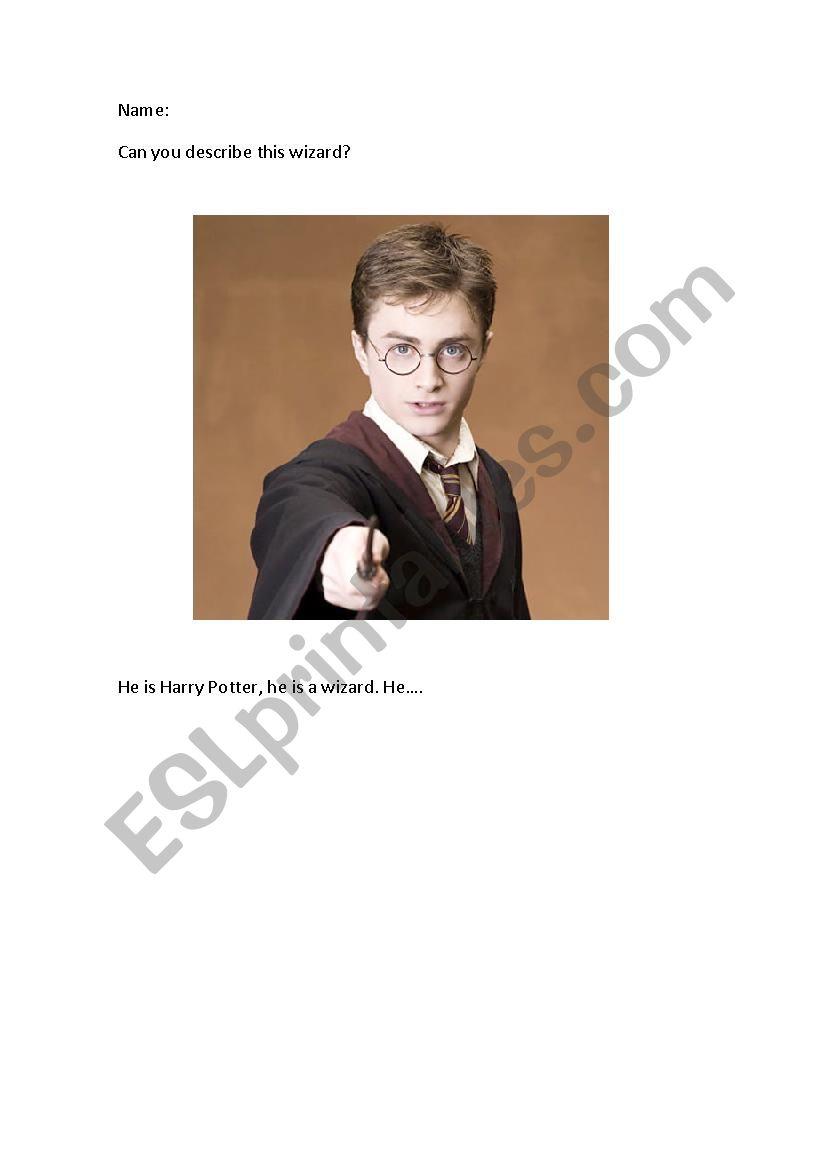 Harry Potter description worksheet