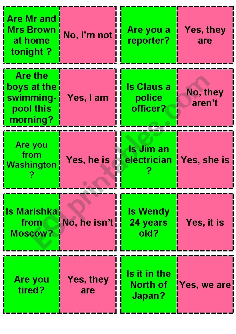 yes/No Questions / BE  Domino worksheet