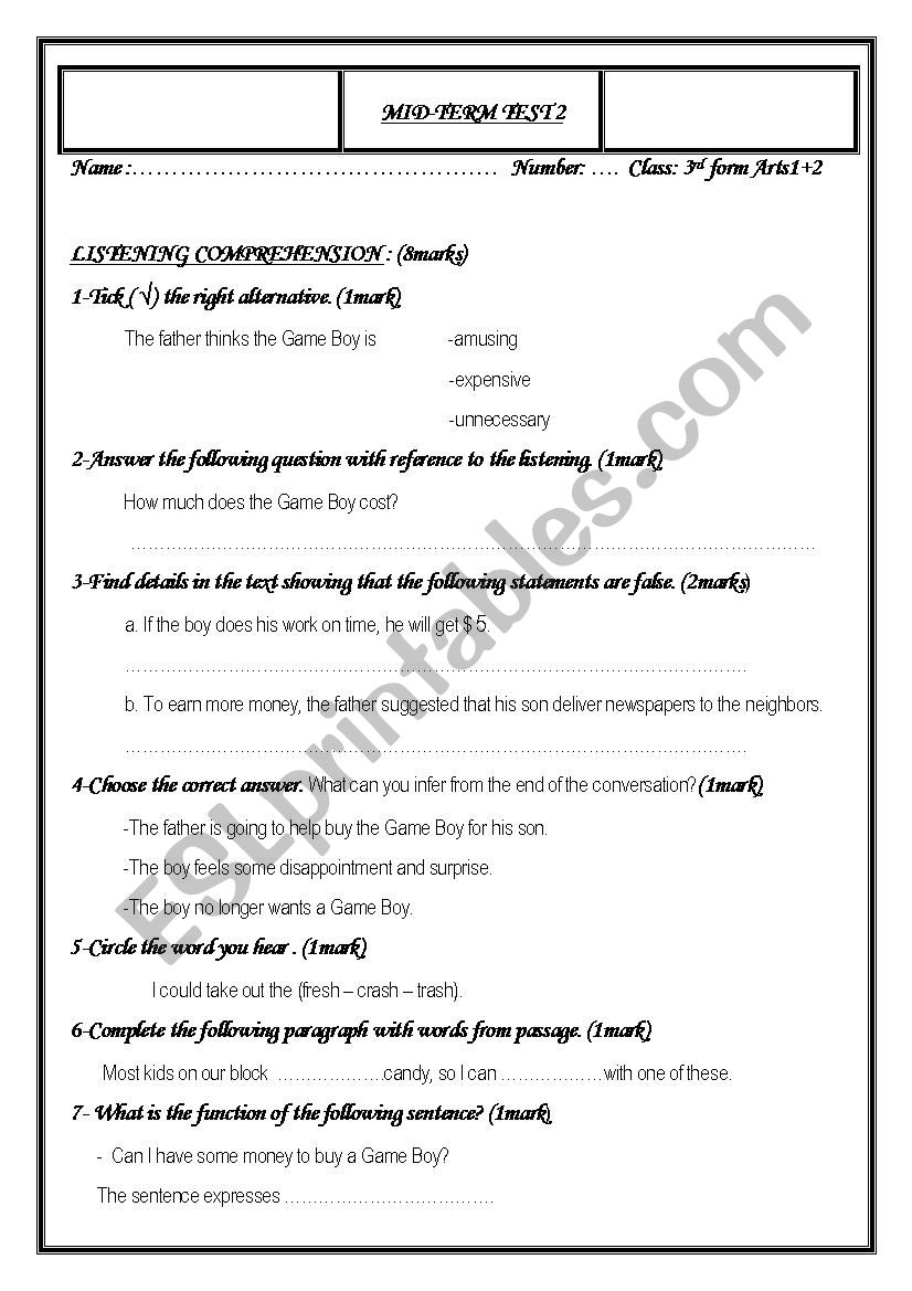 Mid -term test 2 3rd form worksheet