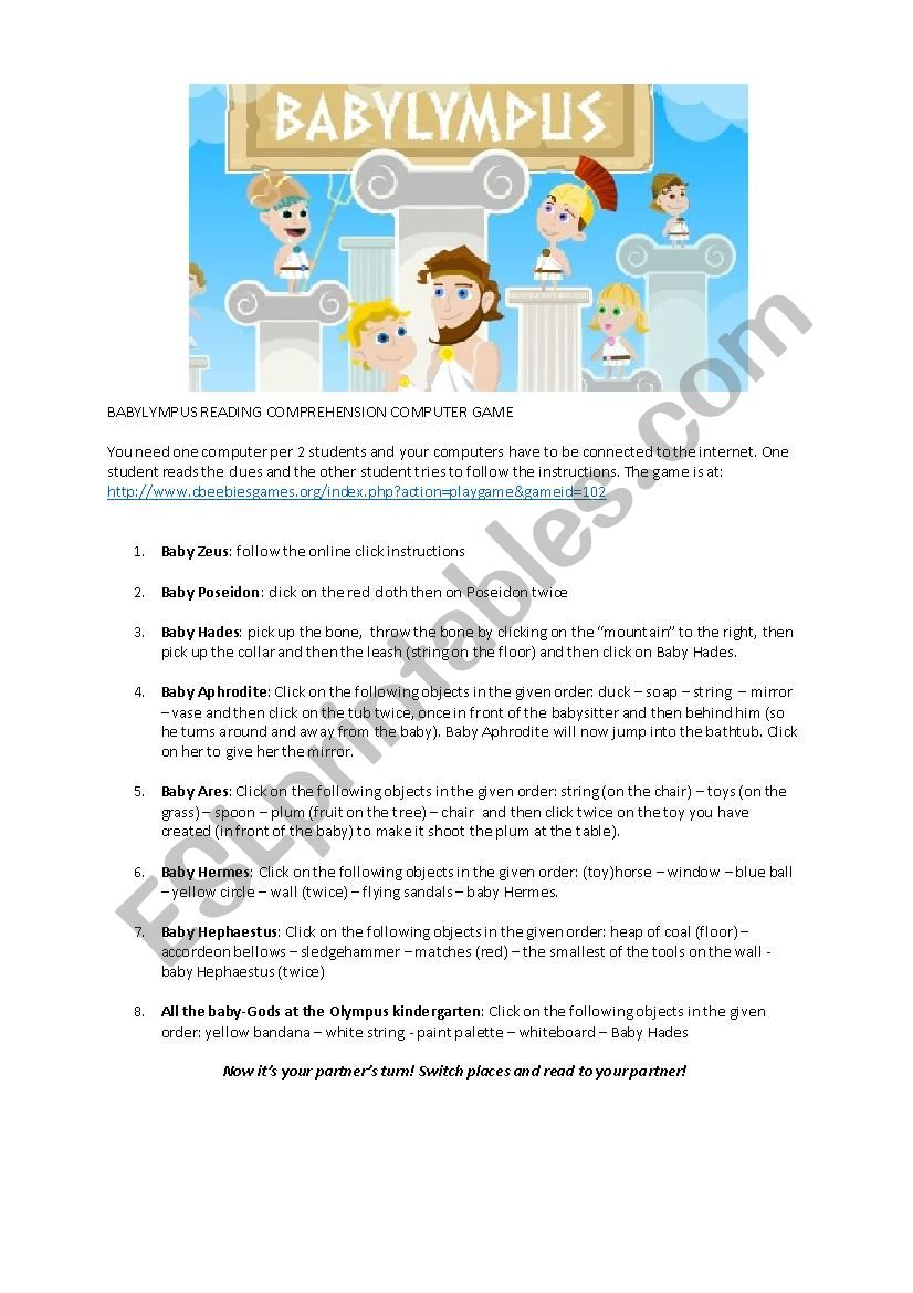- Fun Computer Room Reading Comprehension And Listening Game! - ESL
