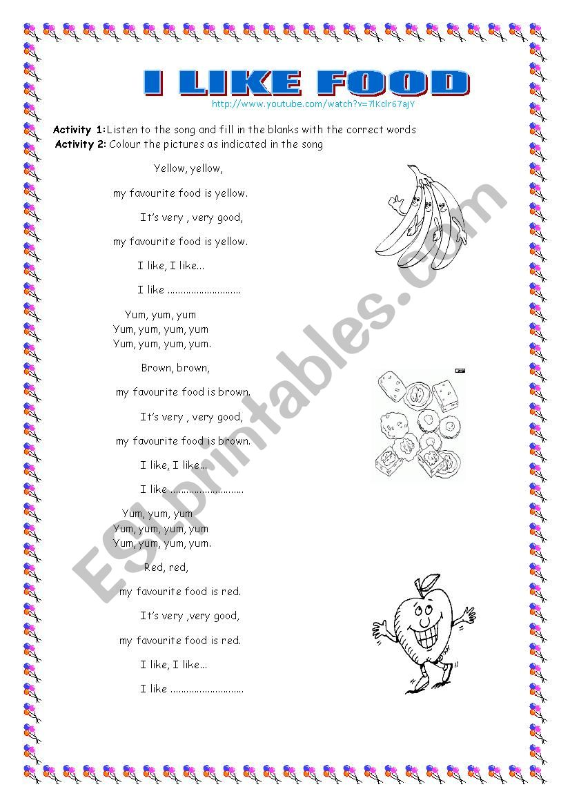 I LIKHE FOOD SONG worksheet