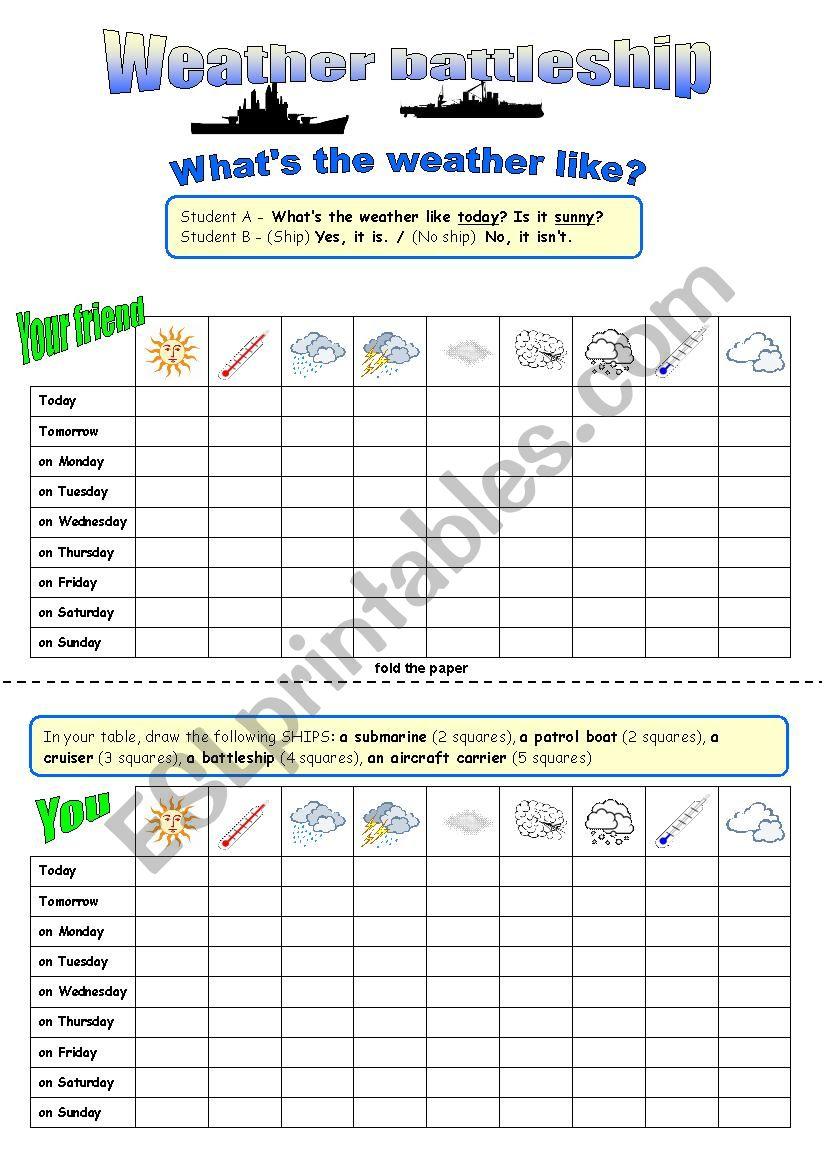 Weather battleship worksheet
