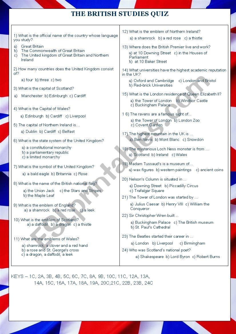 The British Studies Quiz (with keys)