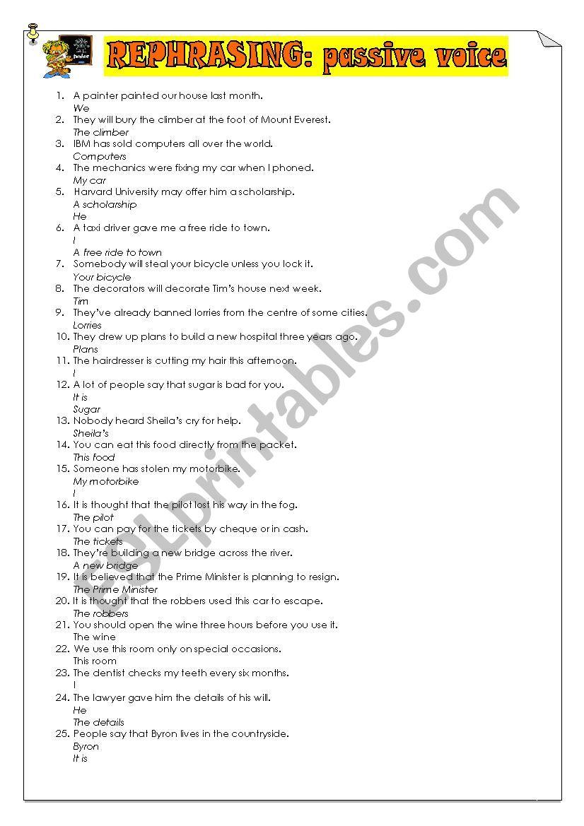 rephrasing passive worksheet