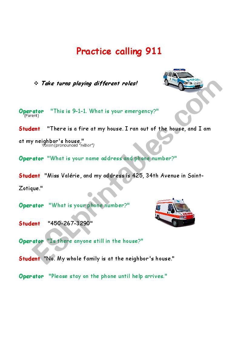 emergency vehicles - ESL worksheet by samsonv