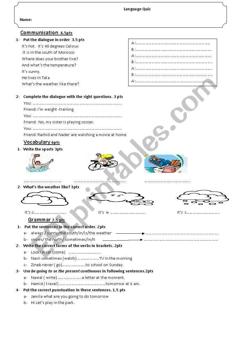 Language Quiz worksheet