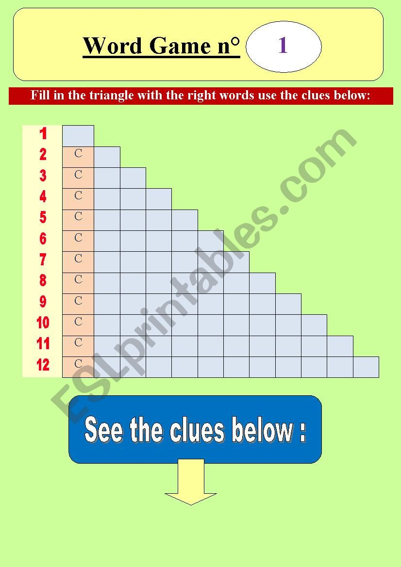 Word game n°1 _ word pyramid (triangle) for elementary students) - Focus on letter C (fully editable) & key included!