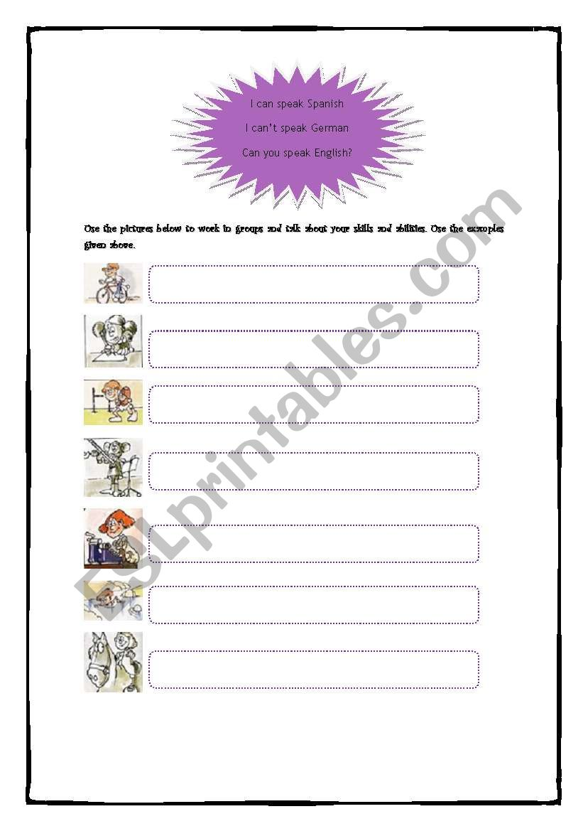 Skills and Abilities worksheet