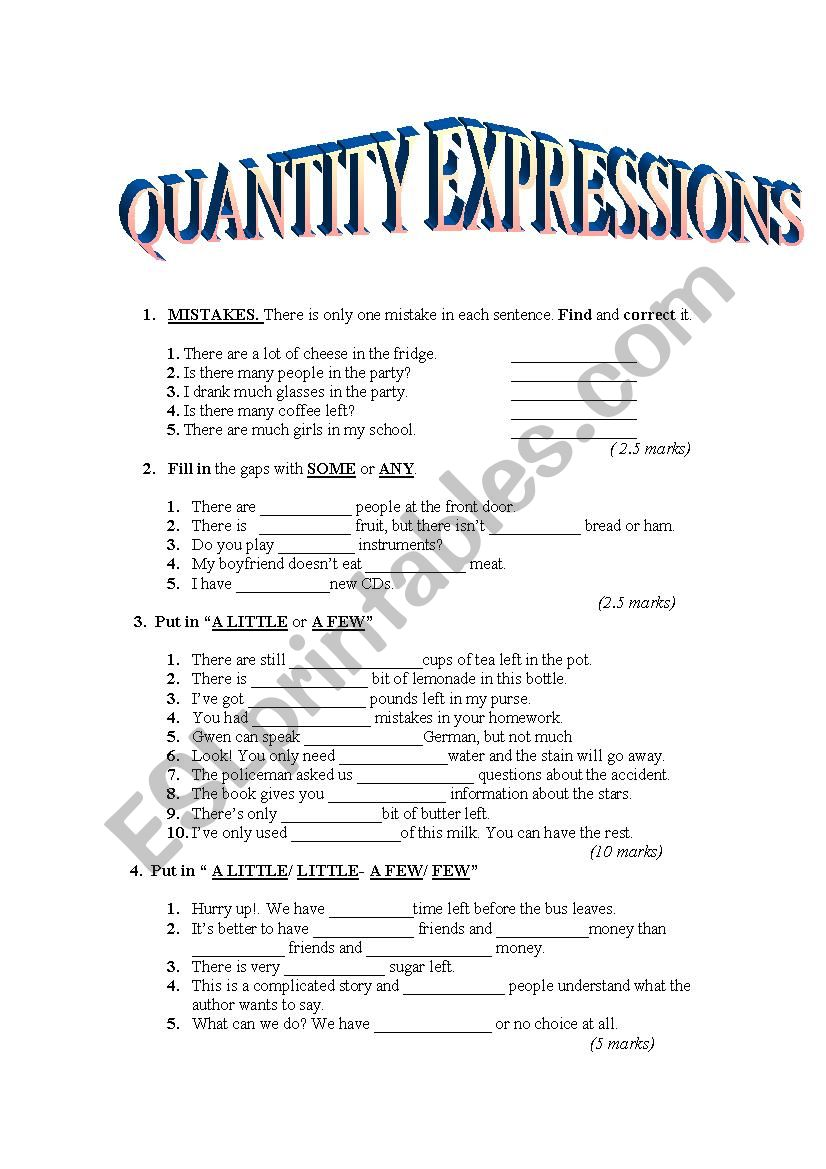 Quantity expressions worksheet