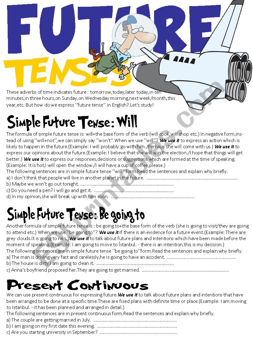 Future Tenses (Will,Be going to and Present continuous)
