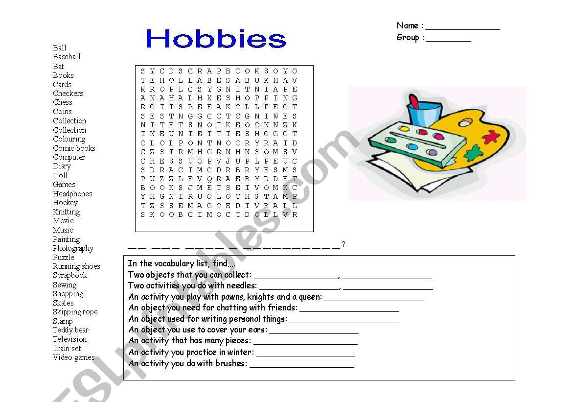 hobbies/wordsearch worksheet
