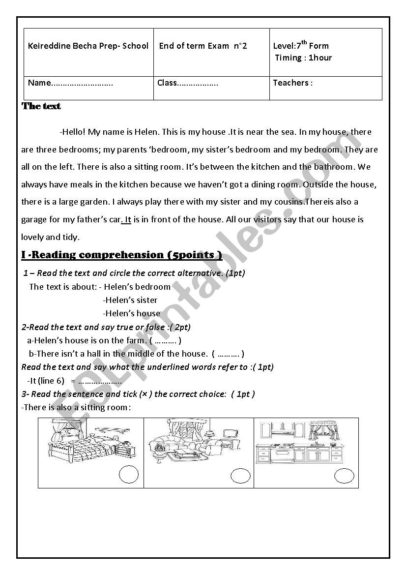 end of term test n°2(7th form)