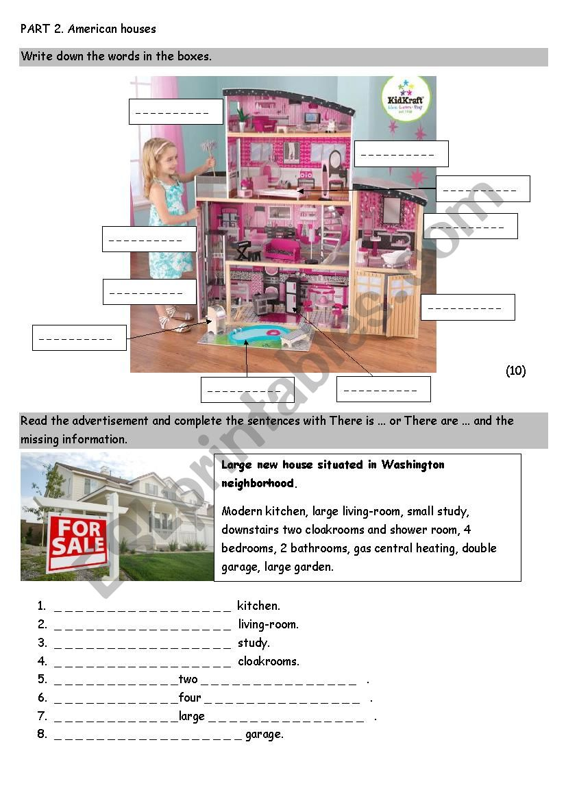 Part 2 Houses worksheet