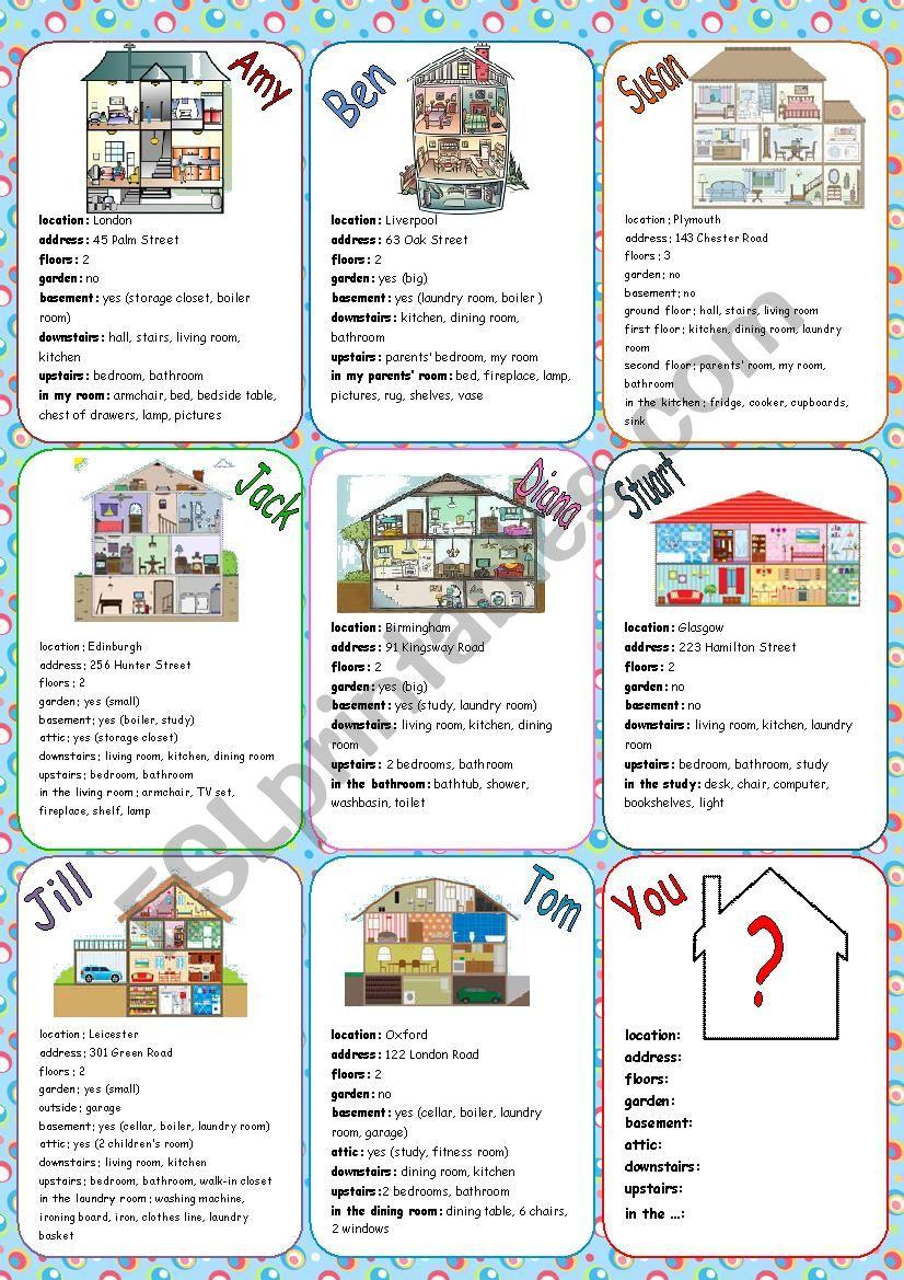 Houses Speaking Cards worksheet