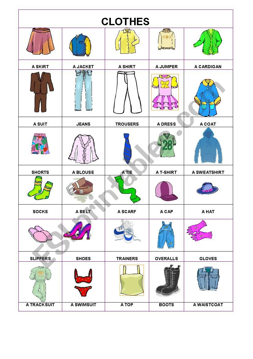 PIctionary- Clothes worksheet