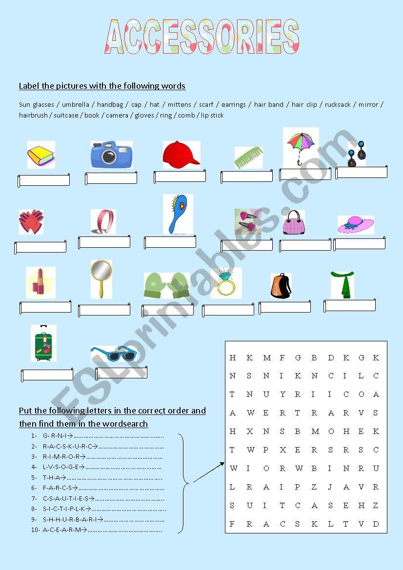 Accessories worksheet