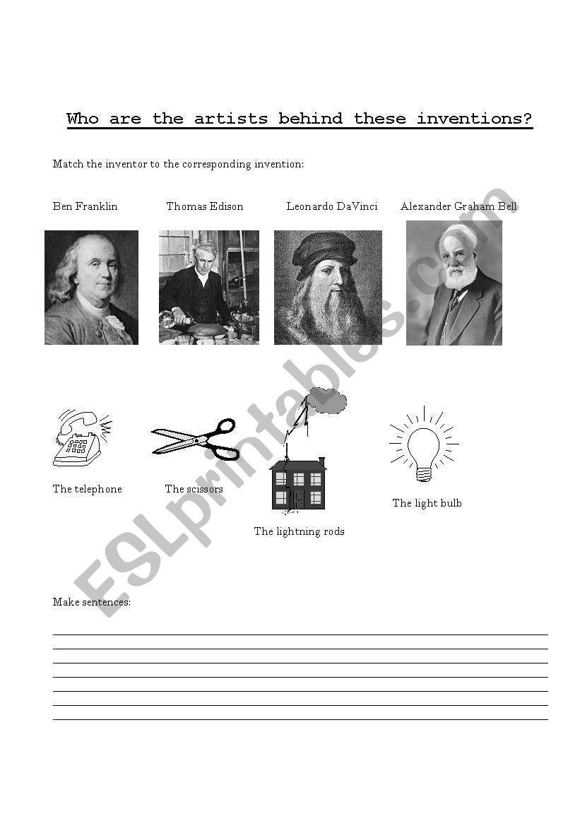 famous inventors - ESL worksheet by ceciwalsh