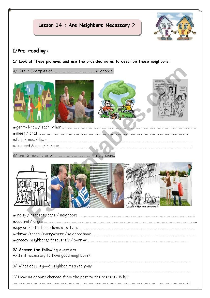 Are Neighbours Necessary?  worksheet