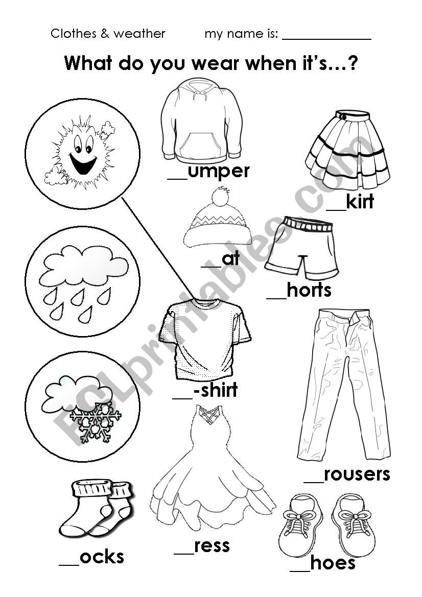 weather clothes esl worksheet by. Black Bedroom Furniture Sets. Home Design Ideas