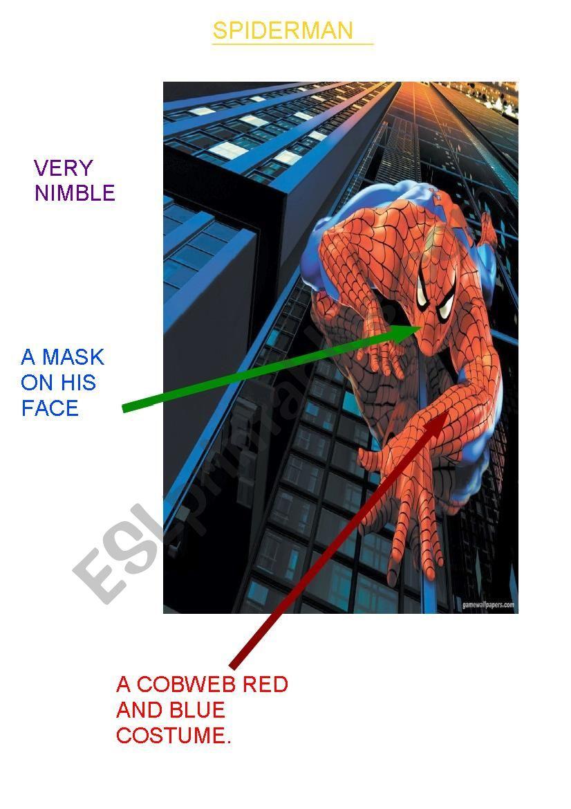 Spiderman a superhero worksheet
