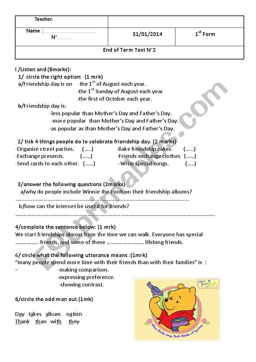 mid-term test 2 1st form worksheet
