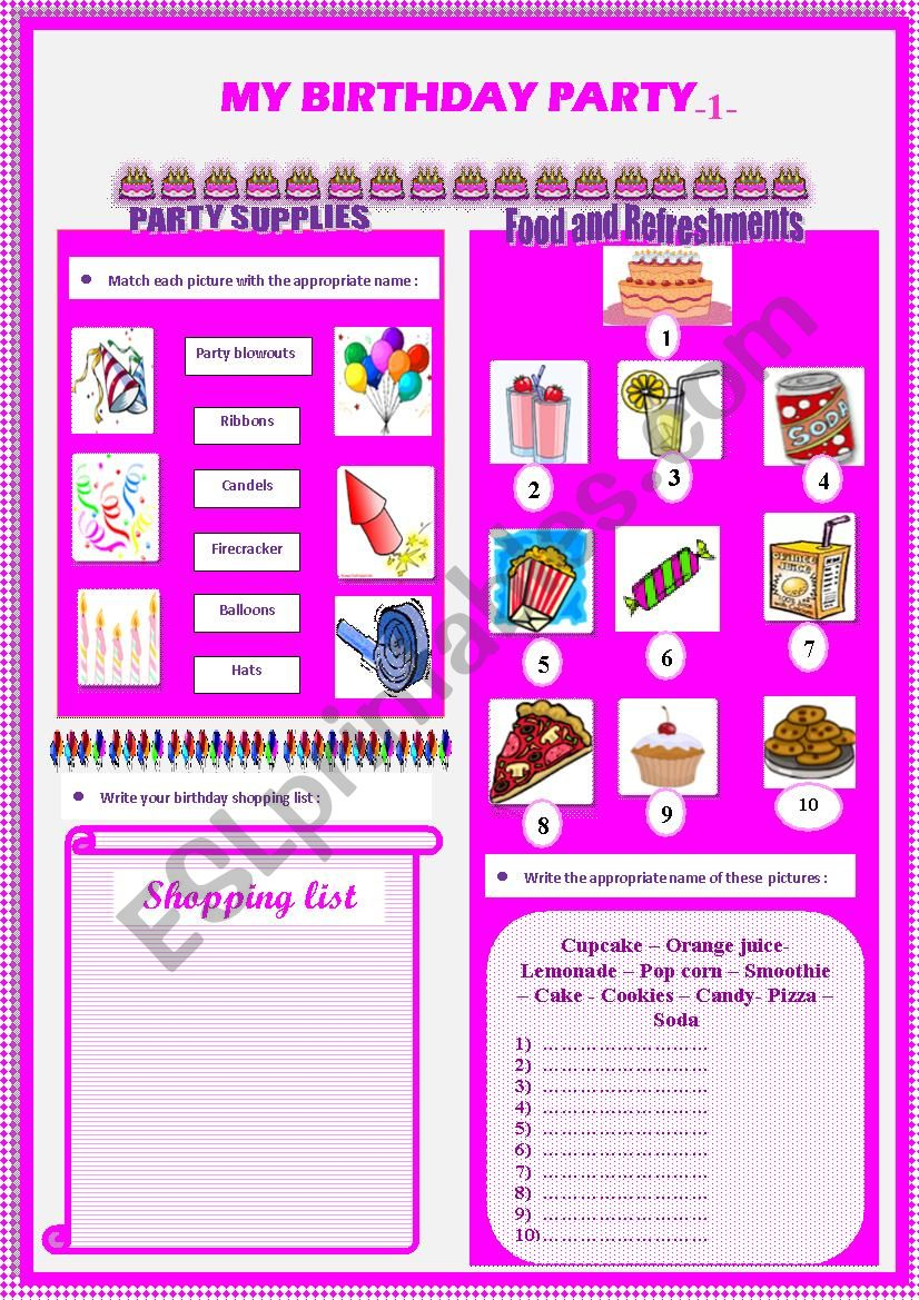my birthday party (part1) worksheet